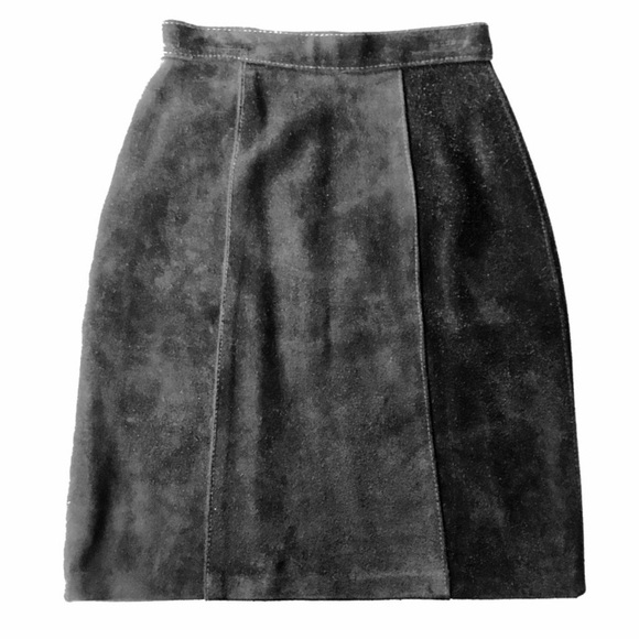 Vintage Dresses & Skirts - VTG Black Suede High Waisted Skirt